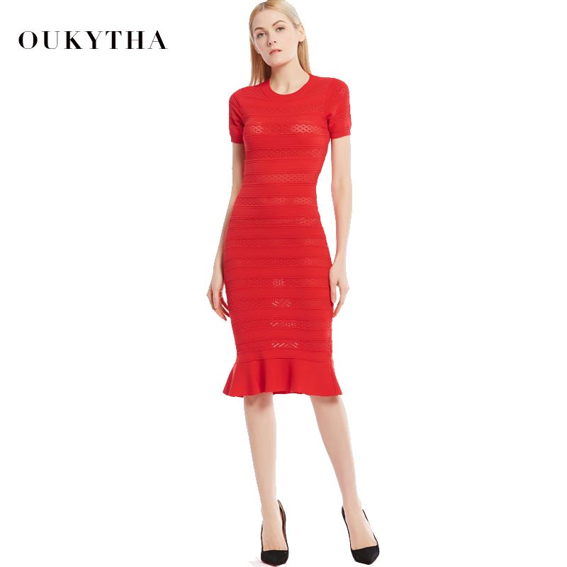 Oukytha 2017 Summer Sexy O Neck Long Dress Bodycon Short
