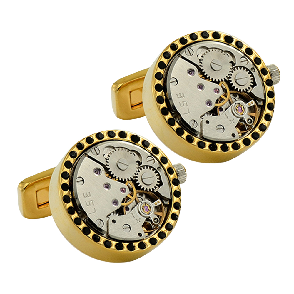 2018 luxury brand personality mechanical skeleton watch movement cufflinks for mens man shirt wedding father days gift