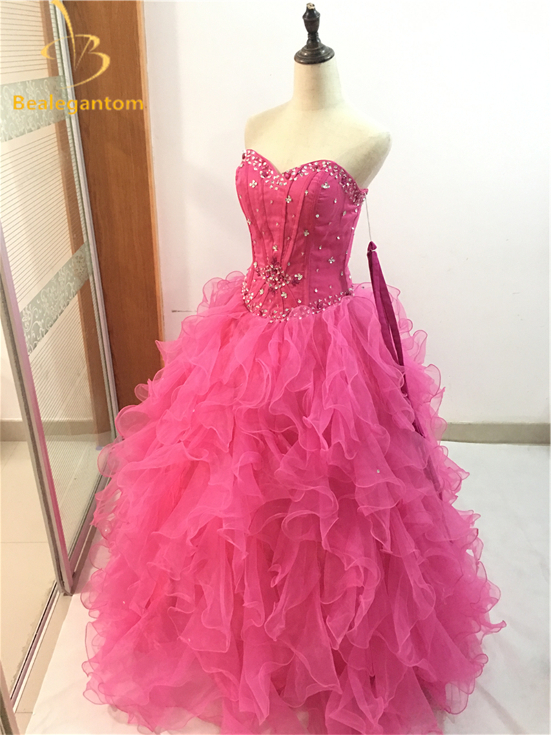 Weddings & Events High Quality In Stock Quinceanera Dresses Ball Gowns 2018 Organza Tiered Crystal Dress 15 Years Vestido 15 Anos Debutante W45