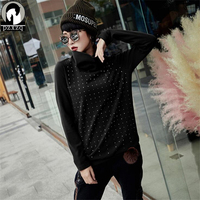 Autumn Winter Casual Women Tops Rivet Design Personality T Shirt Women Turtleneck Knitted T Shirt Tee