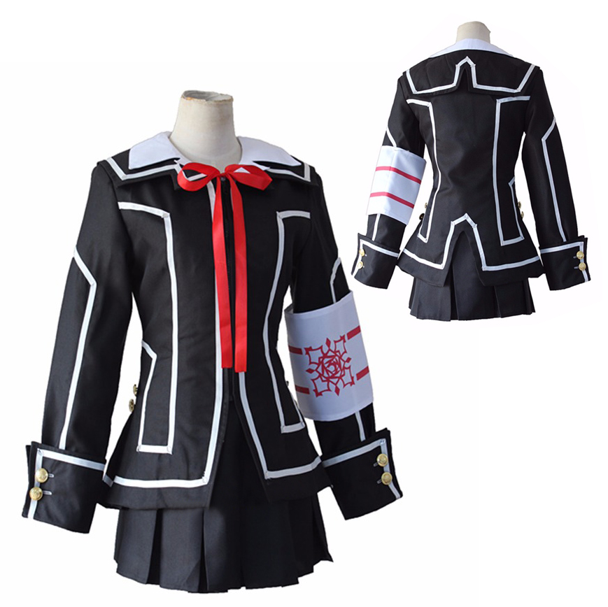 Vampire Knight Kuran / Kurosu Yuki School Uniform Cosplay Costume Full Set Black Dress (Jacket + Shirt+ Skirt+ Bow tie+ Armband)