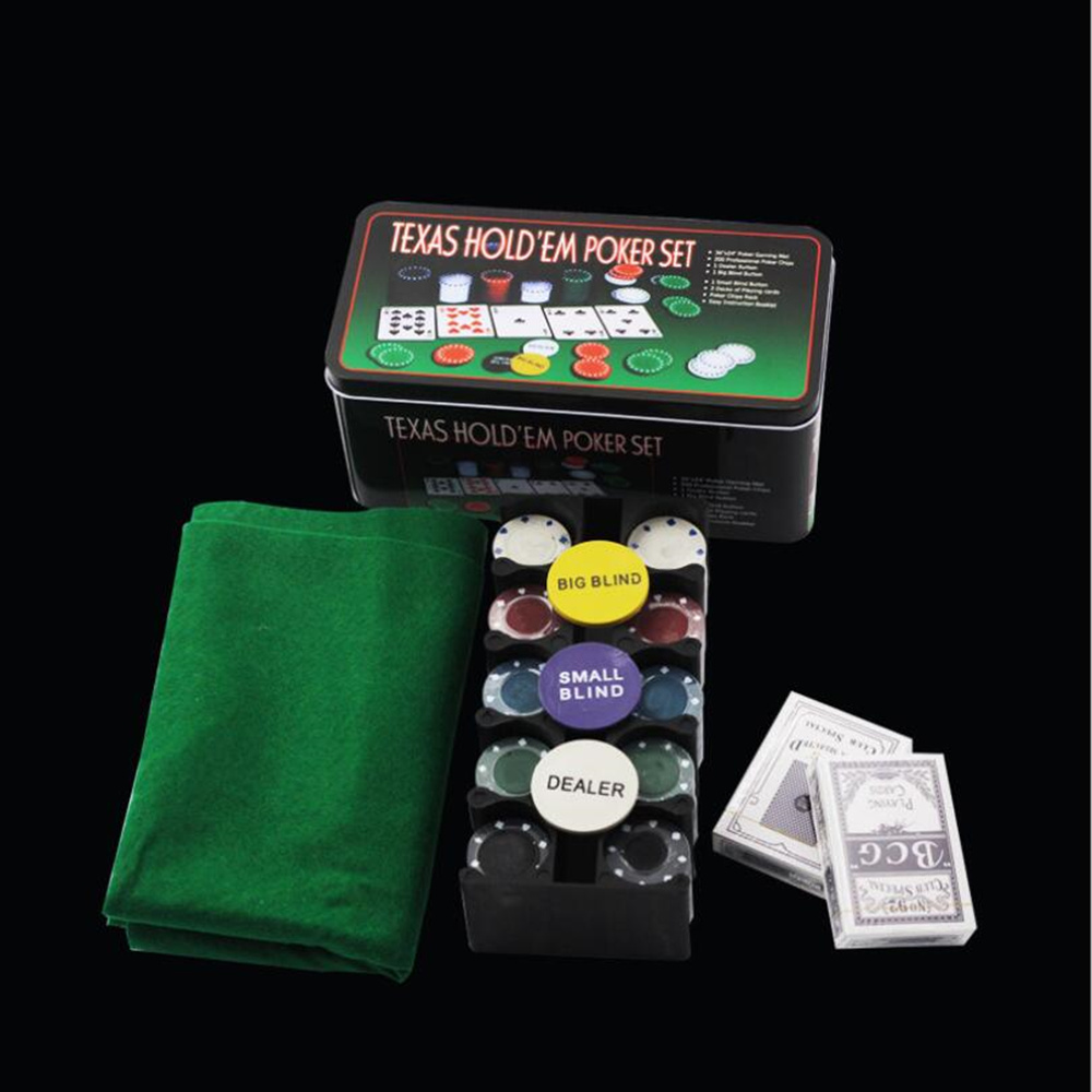 200 keripik Baccarat, Perundingan Poker Chips Set-Blackjack Table Cloth- 2 Blinds - Dealer - 2 Kartu Poker - Dengan Hadiah