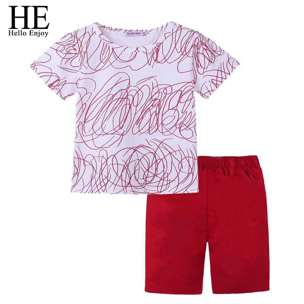 HTB1mXpEhNSYBuNjSsphq6zGvVXat - HE Hello Enjoy Family Clothing Sister And Brother Long Sleeve Print Graffiti T-shirt+Red Skirt&Shorts Family Matching Clothes