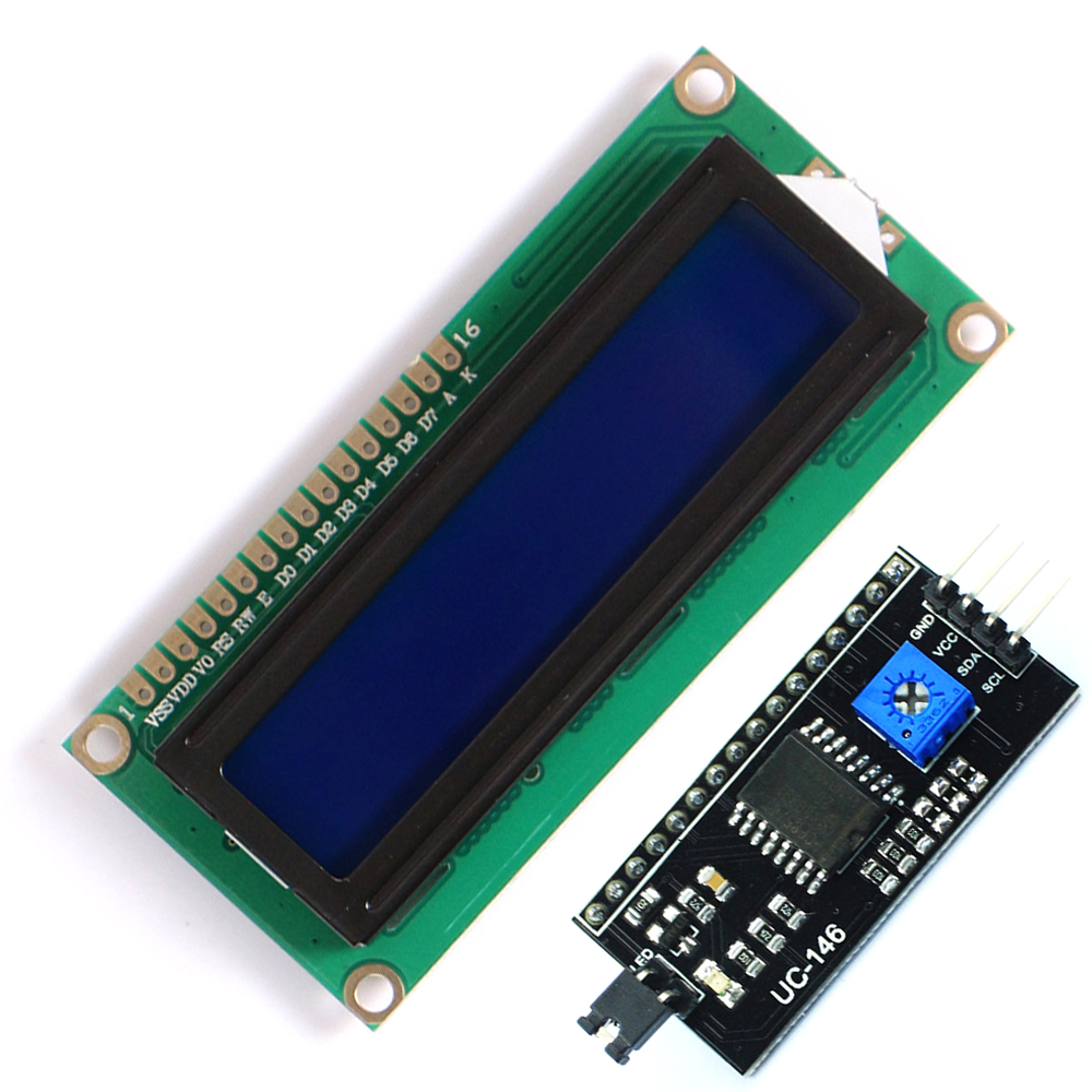 10lot=20pcs 10pcs 1602 16x2 HD44780 Character LCD Blue + 10pcs IIC/I2C 1602 Serial Interface Adapter Module