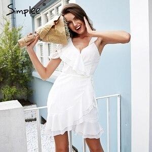 Image 3 - Simplee Ruche koude schouder witte jurk vrouwen Hoge taille wrap chiffon jurk vestidos Streetwear riem casual summer dress 2018