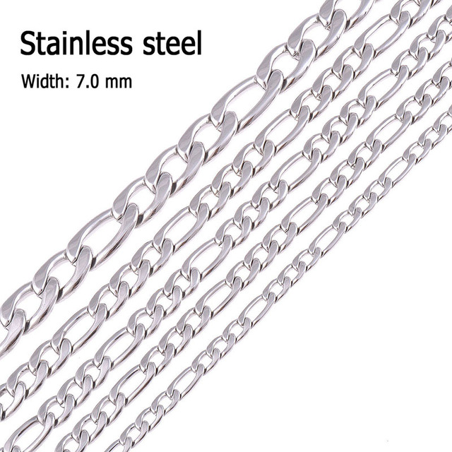 7.0  mm 316L Stainless Steel Necklace chain Silver Color Figaro Chain Necklace Men and women jewelry Christmas gift