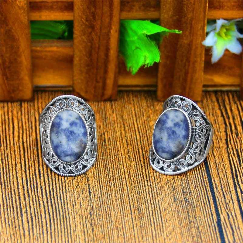 ดอกไม้ธรรมชาติหินแหวนโบราณ Vintage แฟชั่นเครื่องประดับ TR656