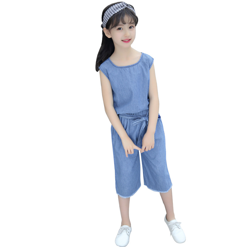 Middle-aged Girl Leisure solid T shirt Broad leggings Two-piece set 2018 Summer suit New Sports Denim suit Tide 2017 autumn girl doll shirt the fashionable two piece set of pure color lotus leaf coat with harness sets tide