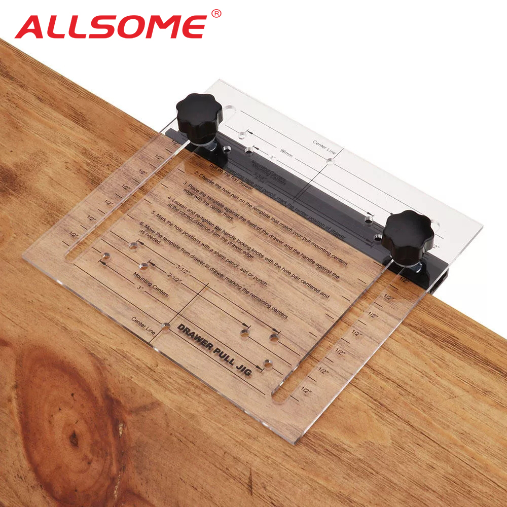 ALLSOME Drill Hole Guide Woodworking Inclined Hole Locator For Cabinet Drawer Pull Jig Drilling Hole Installation Tool HT2573