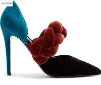 2018 Новый женский бархат Обувь на высоком каблуке тонкий каблук Разноцветные туфли лодочки вечерние туфли на тонком каблуке с острым носком