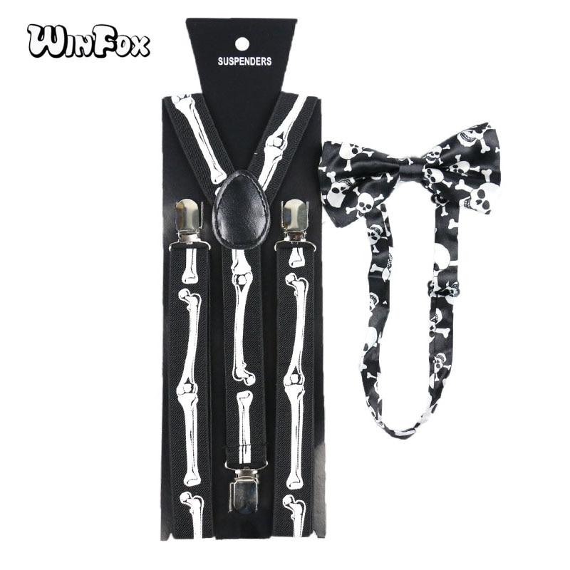 Winfox Vintage Black White Skull Bone Suspenders Bowtie Brace Suspenders Bow Tie Set Women Men