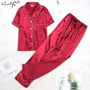 Image 4 - Women Silk Pajamas Satin Pajamas Sets Sleepwear Short Sleeve Top+Long Pants Pajamas Home Clothing Pyjama Night Suit