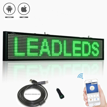 12V Green P5 SMD WIFI Programmable Car bus Led Sign Scrolling Message Display Board with Car rear window sucker installed