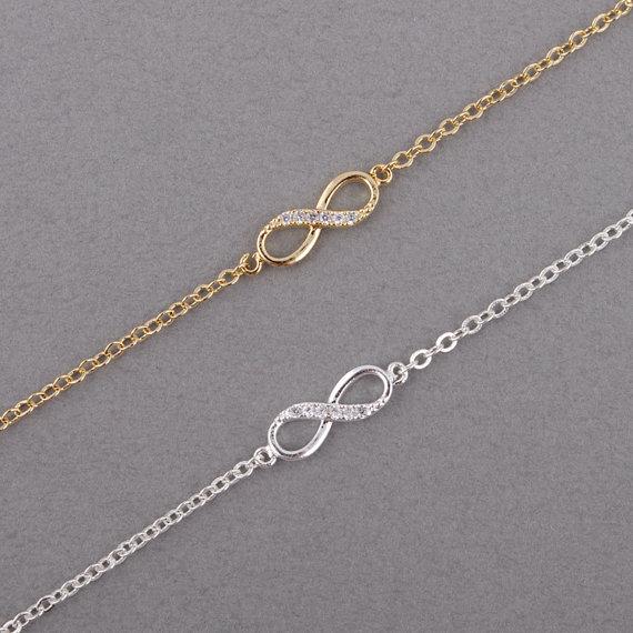 Shuangshuo 2017 New Fashion Infinity Bracelet for Women with Crystal Stones Bracelet Infinity Number 8 Chain Bracelets bileklik