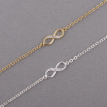 Shuangshuo Infinity Bracelet for Women with Crystal Stones Bracelet Infinity Number 8 Chain Bracelets