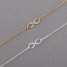 Pulseira infinita feminina, bracelete para mulheres com pedras de cristal, números do infinito, 8 pulseiras com corrente