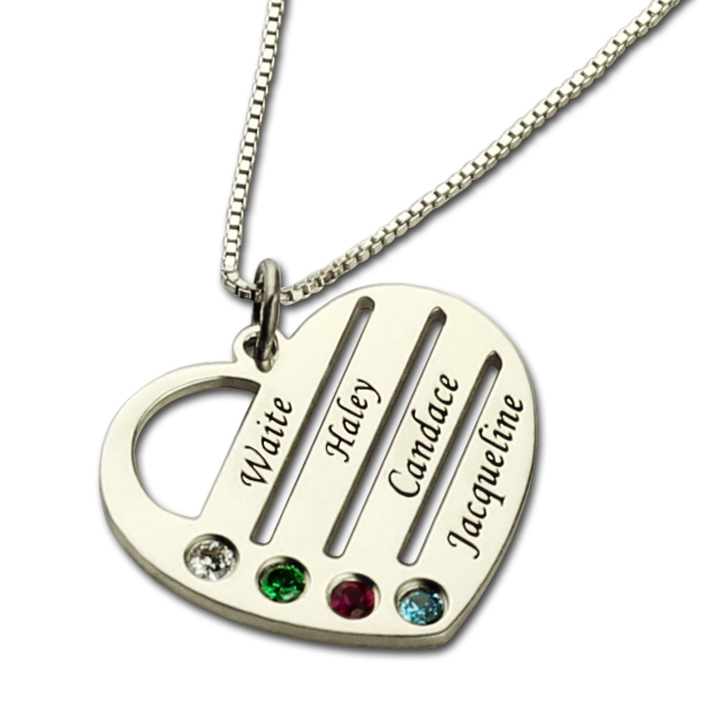 Personalized family necklace mom necklace with kids names engraved personalized family necklace mom necklace with kids names engraved heart mother necklace silver birthstone jewelry for mom in pendant necklaces from jewelry aloadofball Images