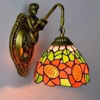 Moda tiffany akdeniz ayçiçeği Mermaid ayna ışık moda rustik duvar lambası yatak lambaları
