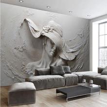 Пользовательские обои 3D стереоскопического тиснением Серый Красота маслом современного абстрактного искусства Настенная Фреска Гостиная Спальня обои