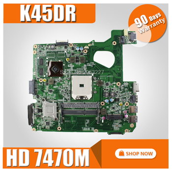 K45DR Motherboard HD7470M 1GB For ASUS A45D A45DR K45D R400D R400DR Laptop motherboard K45DR Mainboard K45DR Motherboard test OK