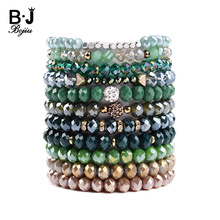 BOJIU Trendy Elastic Faceted Crystal Charm Bracelet For Women Zircon Ball Green Brown Gray Sky Blue Beads BC275