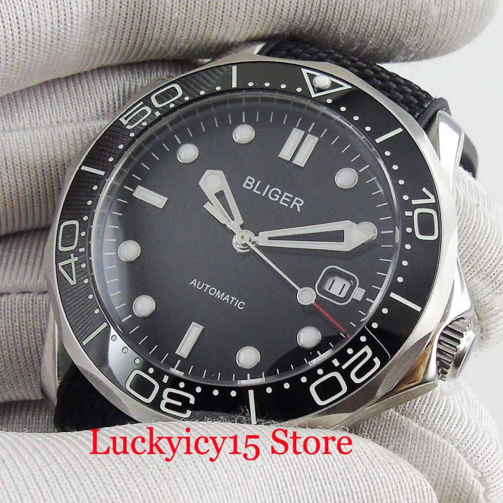High Quality 41mm Automatic Men's Watch With Luminous Dial Date Window Ceremic Bezel Black Rubber Band