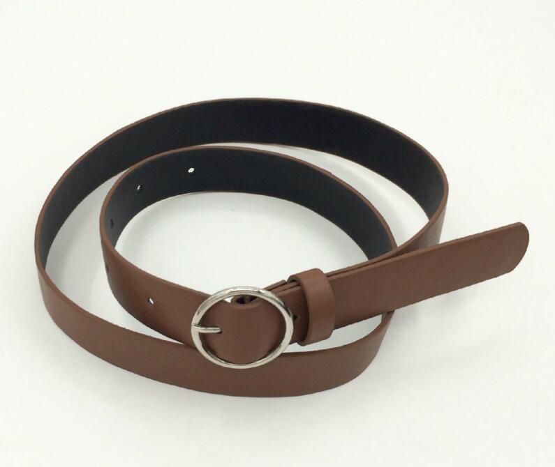 Женский кожаный ремень, новые круглые пряжки, ремни для женщин, для досуга, джинсы, дикие, без шпильки, металлическая пряжка, женский ремень - Цвет: Style 2 CoffeeSilver