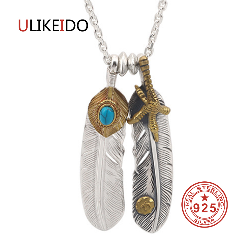 925 Sterling Silver Jewelry Pendant Necklaces Feather Charm Punk Link Thai Silver Eagle Chain For Men And Women Fine Gift 2005 цена 2017