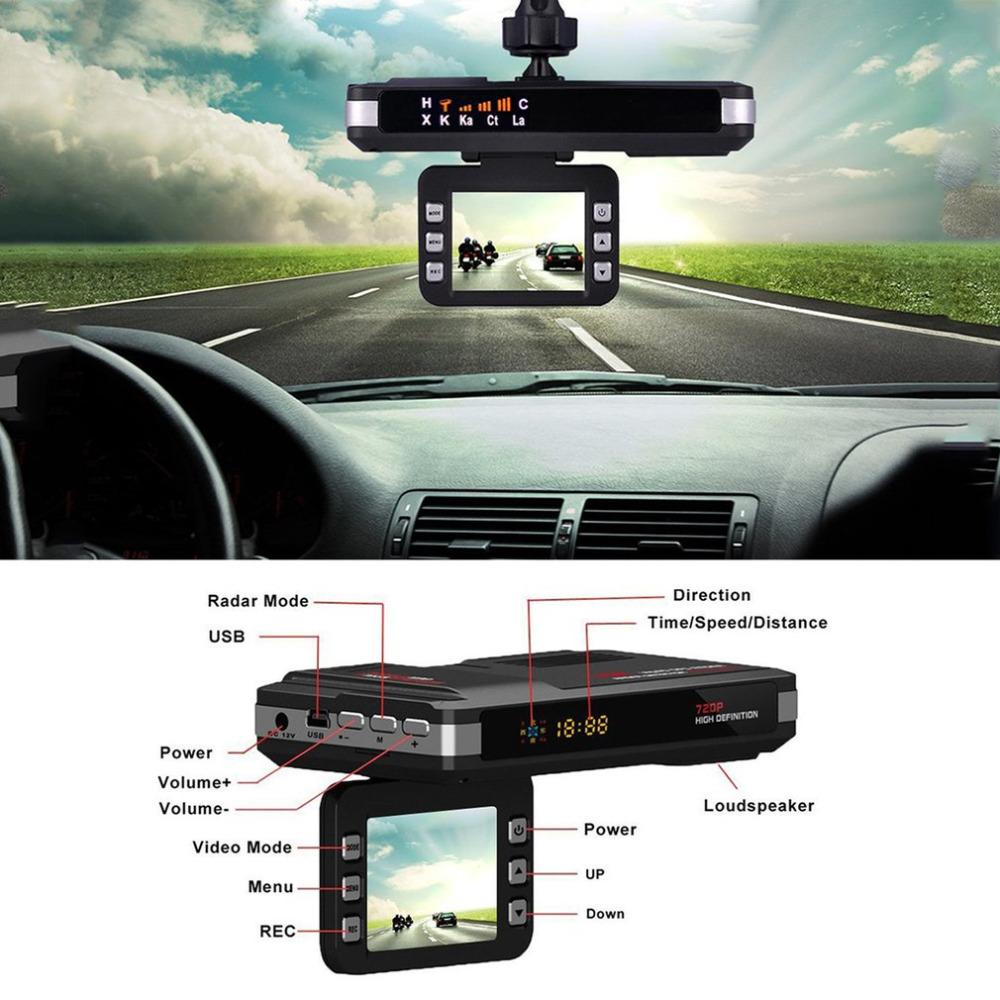 Shenzhen Liancheng Technology Co., Ltd. Car DVR Camera  Recorder Tachograph 720P HD Speed Measuring Radar Car Laser Detector DVR Camera Russian And English Voice New