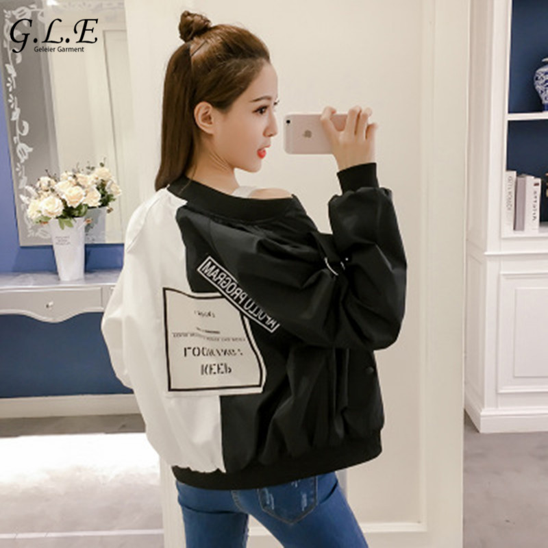 Geleier 2018 jacket women's spring Short jacket female Loose baseball uniform Spell color jackets Fashion Hip Hop Windbreaker