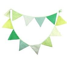 12 bandeiras 3.2m verde listra vertical tecido de algodão bunting bandeiras flâmula bandeira guirlanda chuveiro do bebê/ao ar livre diy decoração para casa