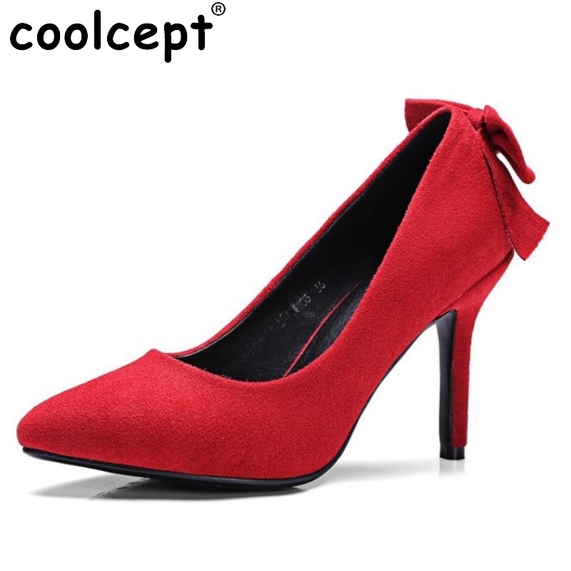 Size 32-42 Back Big Bowknot Pointed Toe High Heel Shoes Women Thin Heels Sexy Fashion Ladies Party Wedding Heeled Pumps Footwear