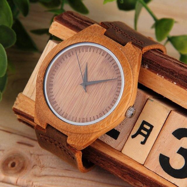 Luxury Men's Women's Bamboo Wood Watch Quartz PU Leather Wristwatches Relogio Ma