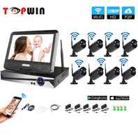 Wireless Surveillance System Network 10 1 LCD Monitor NVR Recorder Wifi Kit 8CH 1080P HD Video