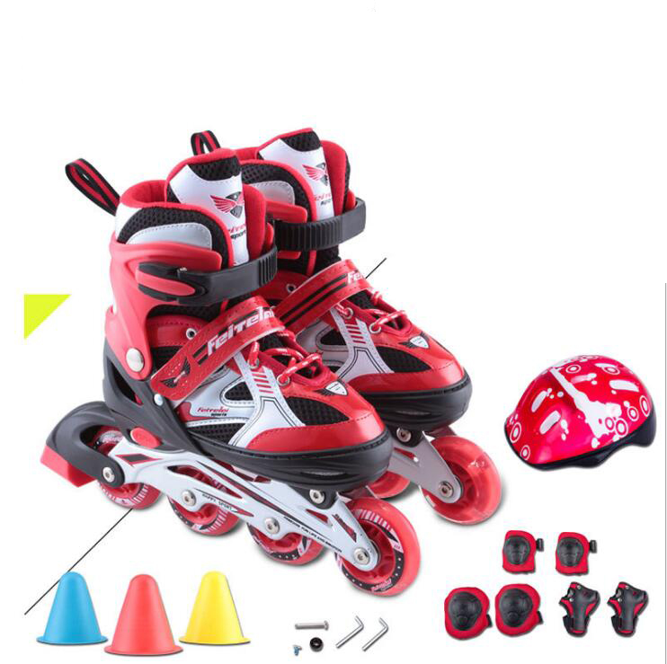 High Quality ChildrenInline Skate Roller Skating Shoes  Adjustable Flashing Wheels Patines Inline SkateRoller Skating Shoes