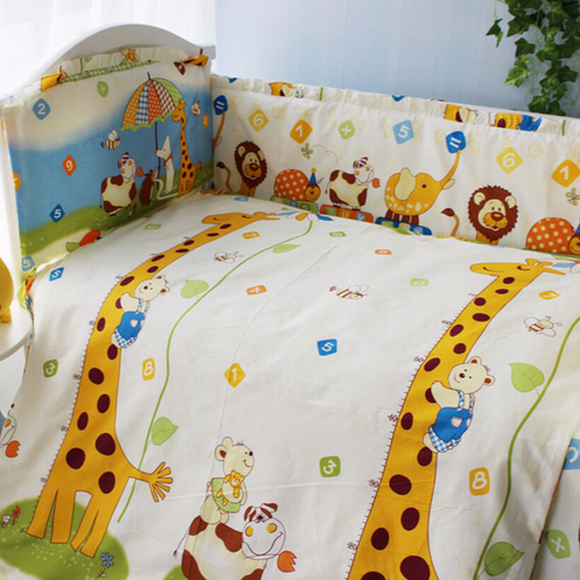 Infant Bedroom Baby Crib Bedding Set Kids Bedding Set 120*60cm Newborn Baby Bed Set Crib Bumper Baby Cot Set Baby Bed Sheet infant bedding set newborn crib bedding set cute milk bottle and cows design with bed sheet quilt cover and pillowcase baby bed