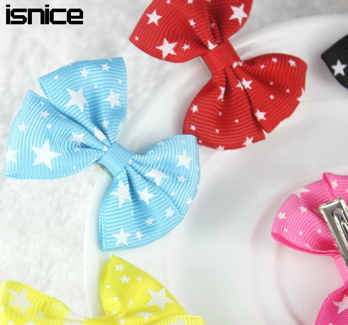 isnice 10 Pcs Star Heart 2 inch girls headwear Bow Hairpin Hair Clips for Girl hair accessories Flower Gum for Hair women hair accessories girl hair fascinators wool felt hat flower girl hair bows with clips