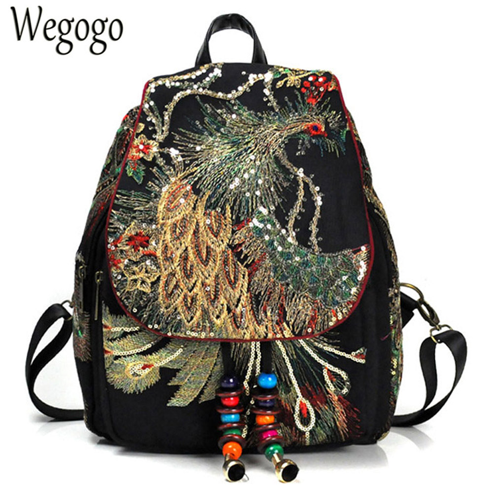 New Vintage Women Backpack Embroidery Peacock Sequin Rucksack National Boho Beads Travel School Shoulder Bag For Woman-in Backpacks from Luggage & Bags    1