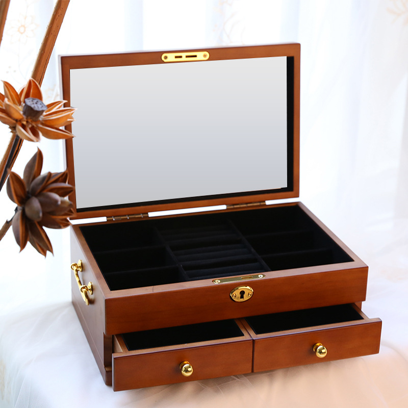 Wooden Jewelry Box Vintage Large Capacity Flannelette Jewelry Storage Boxe Daily Ornaments Storage Box Wedding Birthday Gift