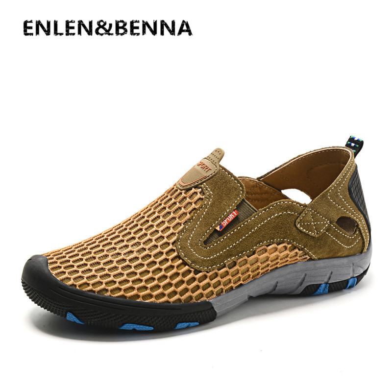 ENLEN&BENNA Summer Style Male Mesh Shoes For Men Adult Casual Breathable Light Quality Driving Walking Sneakers Slip On Footwear