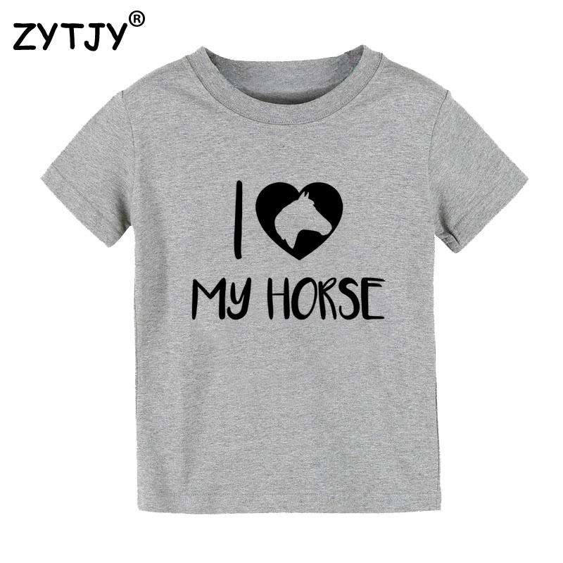 5bdbcbdd2bd53 Eu amo o meu cavalo Impressão Caçoa o tshirt Menino Menina t camisa Para As  Crianças Roupa Da Criança Engraçado Top Tees Drop Ship Y 71 em Camisetas de  Mãe ...