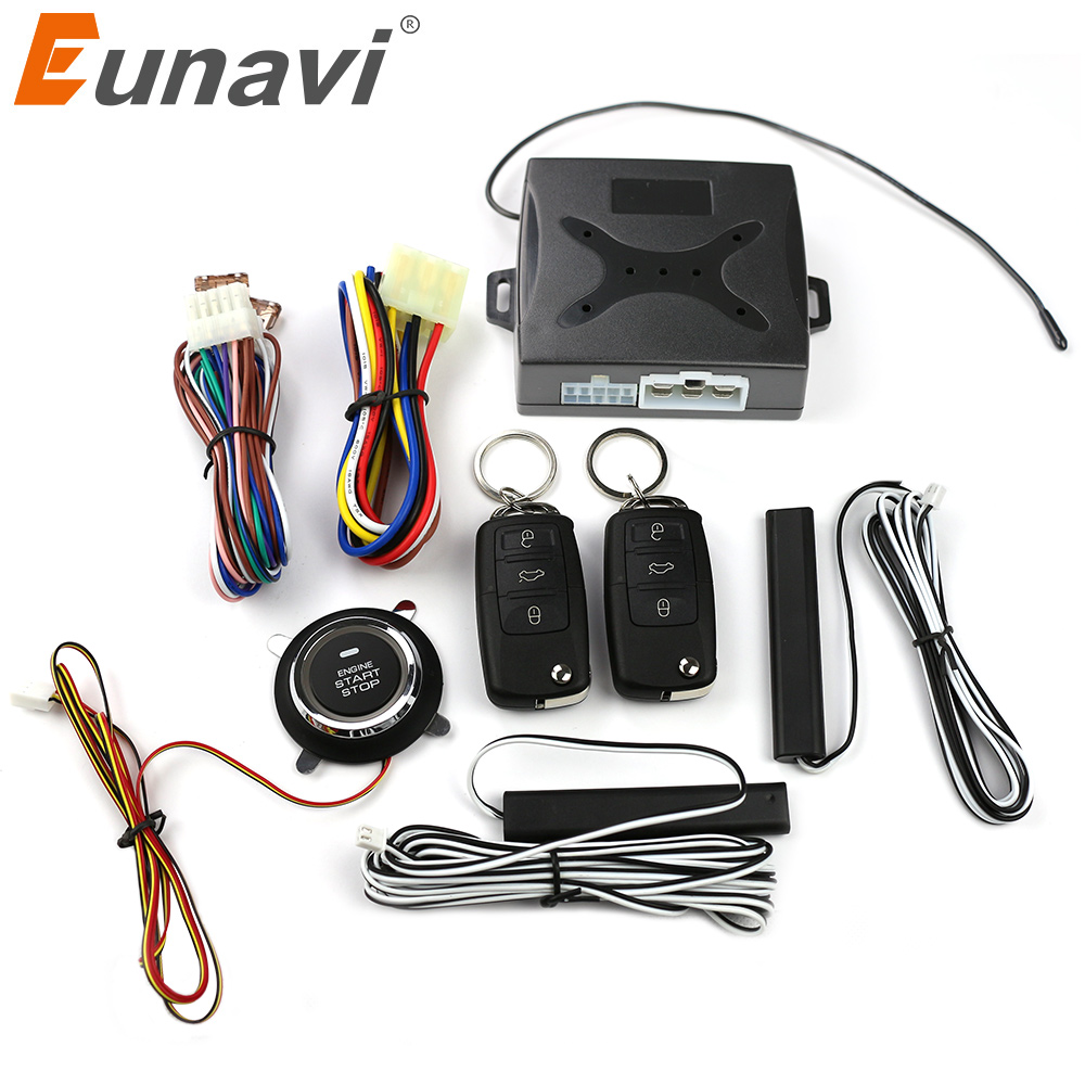Eunavi remote keyless push start stop button remote start stop car engine by alarm remote unlock action auto window up output auto car alarm remote engine start stop push button start stop passive keyless entry password emergency lock and unlock