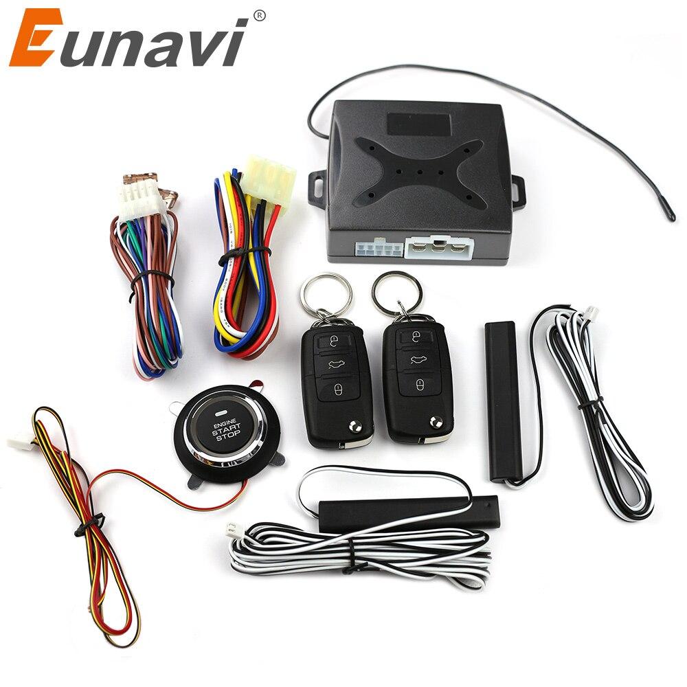 Eunavi télécommande sans clé bouton d'arrêt démarrage à distance arrêt moteur de voiture par alarme déverrouillage à distance action fenêtre automatique sortie
