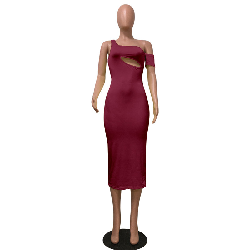 Echoine Evening Bodycon Dress Women Slim Sexy Oblique Collar Hollow Out Party Long Sheath Elegant Woman Gown Clothes Mixi Robe in Dresses from Women 39 s Clothing