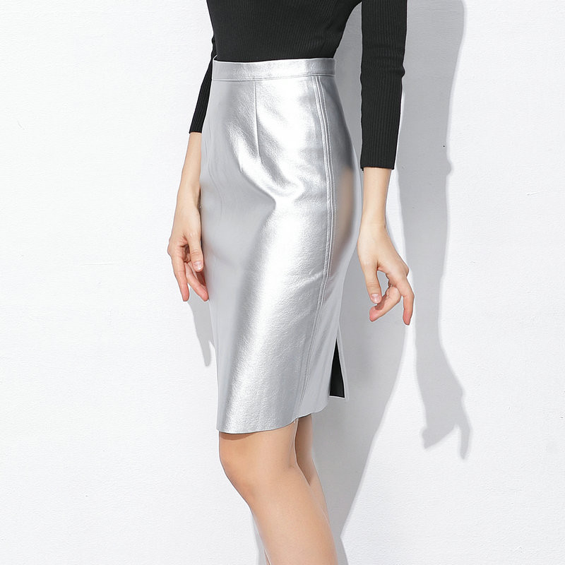 Korean Pu leather office lady high waist summer zipper skirt 2018 women sexy wrap skirt midi slit silver gold slim pencil skirt