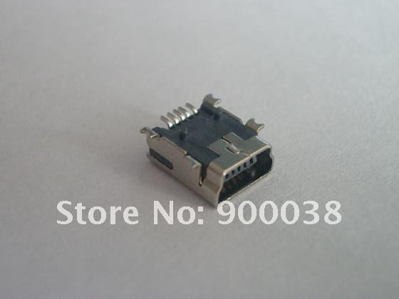 10pcs Female Mini USB Connector 2.0 B Type 5 Pin receptacle SMD Mount reflow solderable material with 2 locators