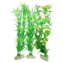 """3 шт./компл. аквариума желтый и зеленый цвета Пластик искусственные растения 13,"""" высота"""