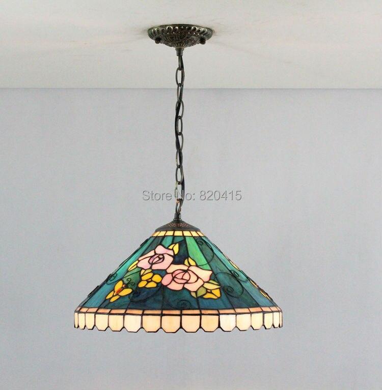 16 inch tiffany style stained glass lamps modern art handmade pendant lights bedroom lamp shade kitchen decor lighting - Broadway Lighting store