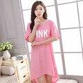 2016 Novo Estilo Verão Mulheres Sleepwear Algodão Kintted Impressão Dormir Vestido Camisola Para Senhoras das Mulheres Roupa Em Casa Sleepwear