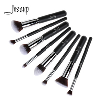 Professional 8pcs Black Silver Foundation Blush Liquid Kabuki Brush Makeup Brushes Tools Set Beauty Cosmetics Kit